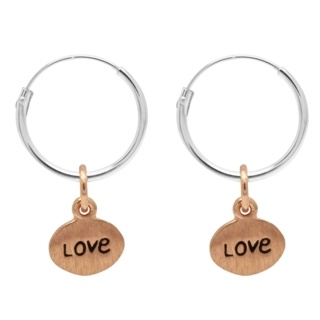Silver Hoop Earrings with Rose Gold Love Charm