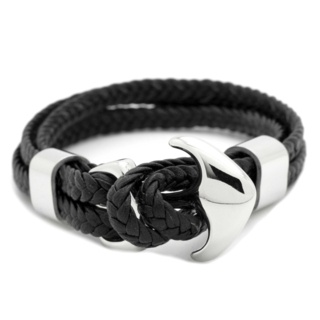 Woven Black Leather Anchor Bracelet