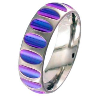 Dome Profile Zirconium Wedding Ring with Anodised Purple Cutouts