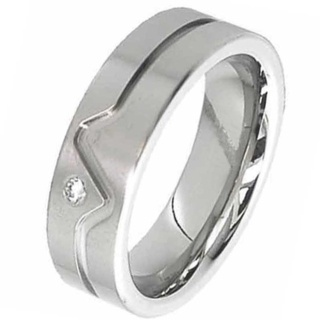 Flat Profile Diamond Titanium Wedding Ring