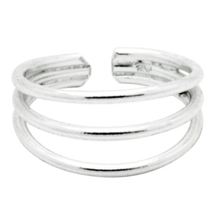 Adjustable Triple Row Silver Midi Ring