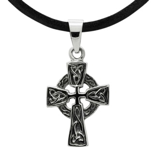 925 Silver Celtic Cross Leather Necklace