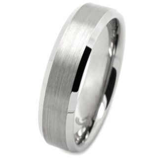 Flat Profile Tungsten Ring with Polished Bevelled Shoulders