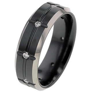 Flat Profile Diamond Set Black Zirconium Wedding Ring