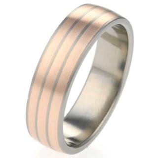 6mm Titanium Ring with Three Rose Gold Inlays