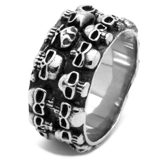 Wide Stainless Steel Skull Ring