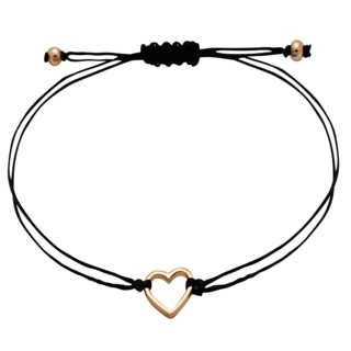 Rose Gold Silver Heart Macrame Black Bracelet