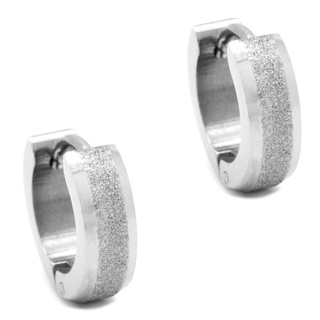 Stainless Steel Sparkling Huggie Earrings