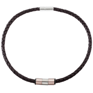6mm Woven Brown Leather Necklace with Rose Gold Coloured Titanium Beads