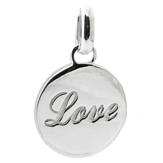 Silver Disc Love Necklace