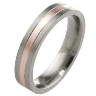 5mm Titanium Ring with 9ct Rose Gold Inlay