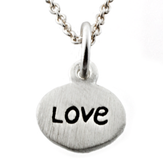 Silver Oval Love Charm Necklace