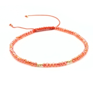 Handmade Faceted Orange & Gold Crystal Adjustable Bracelet