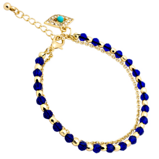 Gold Evil Eye Blue Crystal Charm Bracelet
