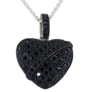 Baroque Pave Black Crystal Silver Pendant