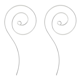 Silver Plated Elongated Oval Spiral Earrings
