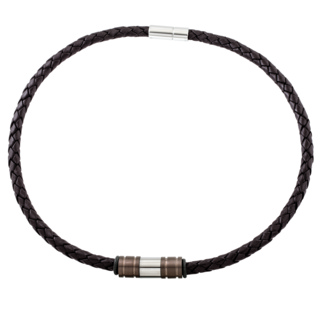 Woven Brown Leather Necklace with Triple Titanium Beads