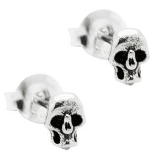 Mini Silver Skull Earrings