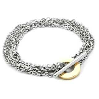 Gold Steel T Bar Chain Bracelet