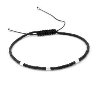 Handmade Black & Silver Plated Beaded Adjustable Bracelet