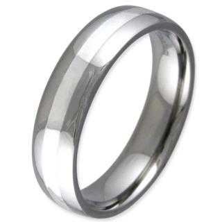 Entice Titanium & Silver Inlaid Ring