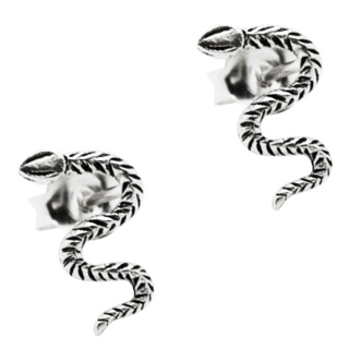 Detailed Silver Snake Earrings