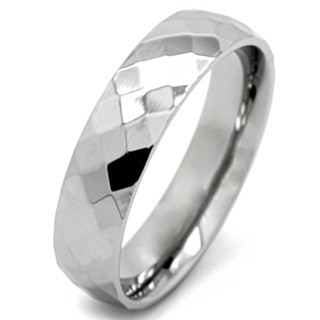 High Polished Faceted Steel Ring