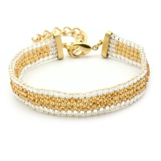 Gold Plated Gold & White Beaded Bracelet