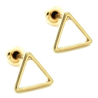 Gold Polished Triangle Stud Earrings