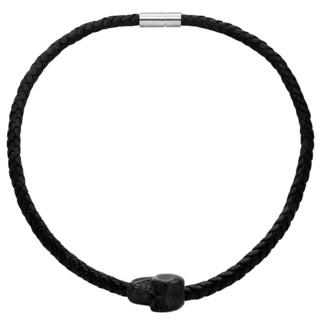 Black Steel Skull Leather Necklace