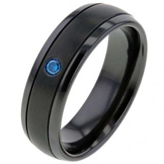 Blue Diamond Zirconium Ring
