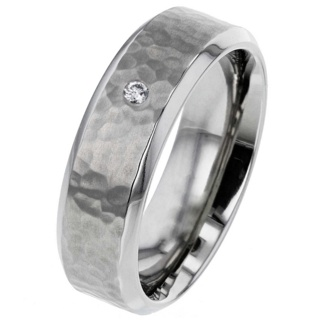 Hammered Titanium Wedding Ring with Diamond Setting