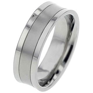 Concave Profile Two Tone Titanium Ring