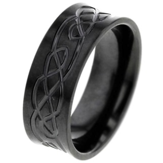 Concave Zirconium Ring with Celtic Pattern