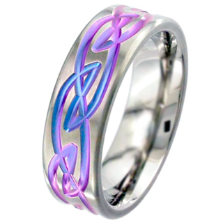 Flat Profile Anodised Zirconium Wedding Ring with Celtic Design