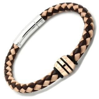 Two Tone Leather Bracelet with a Polished Rose Gold Titanium Bead