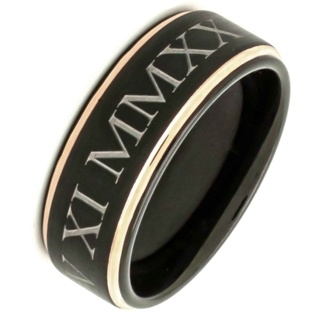 Personalised Roman Numeral Black & Rose Gold Tungsten Carbide Ring