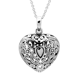 925 Silver Filigree Heart Pendant