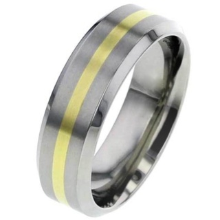 Flat Titanium Wedding Ring with Gold Inlay