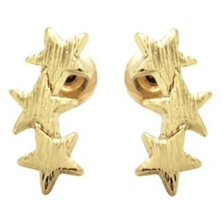 Trio Of Stars Gold Stud Earrings