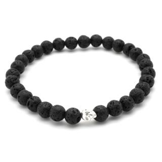Black Lava Rock Silver Skull Bracelet