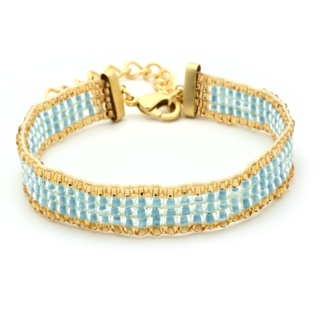 Gold Plated Light Blue & Gold Beaded Bracelet