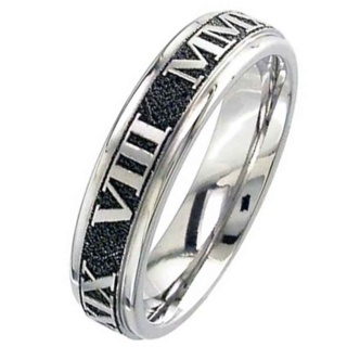 Flat Profile Titanium Wedding Ring customised Roman Numerals