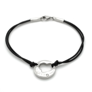 Black Leather Crystal Heart Charm Bracelet