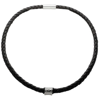 Woven Black Leather Necklace with a Polished Concave Indented Titanium Bead