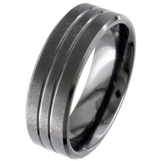 Flat Profile Textured Black Zirconium Wedding Ring