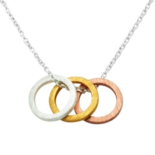 Gold, Rose Gold and Silver Rings Necklace