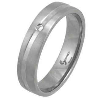 Swell Satin Diamond Titanium Ring