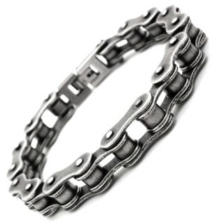 Oxidised Stainless Steel Bike Chain Bracelet