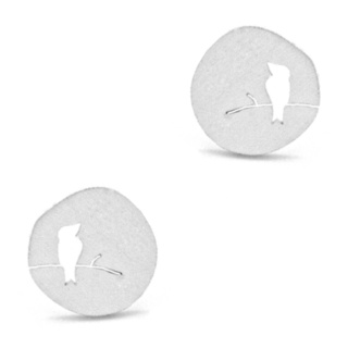 Silver Plated Circular Bird Earrings
